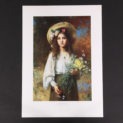 """Offset Lithograph After Alexei Harlamoff """"Young Girl With Daisies"""""""
