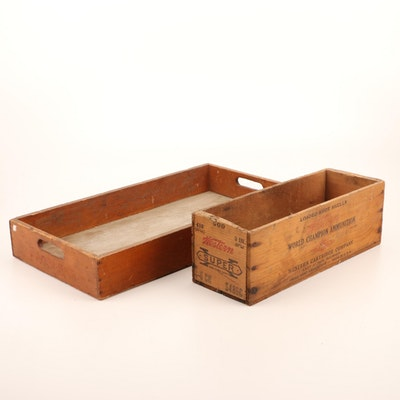 Western Cartridge Co. Shot Shell Box and Wooden Tray, Early to Mid 20th Century