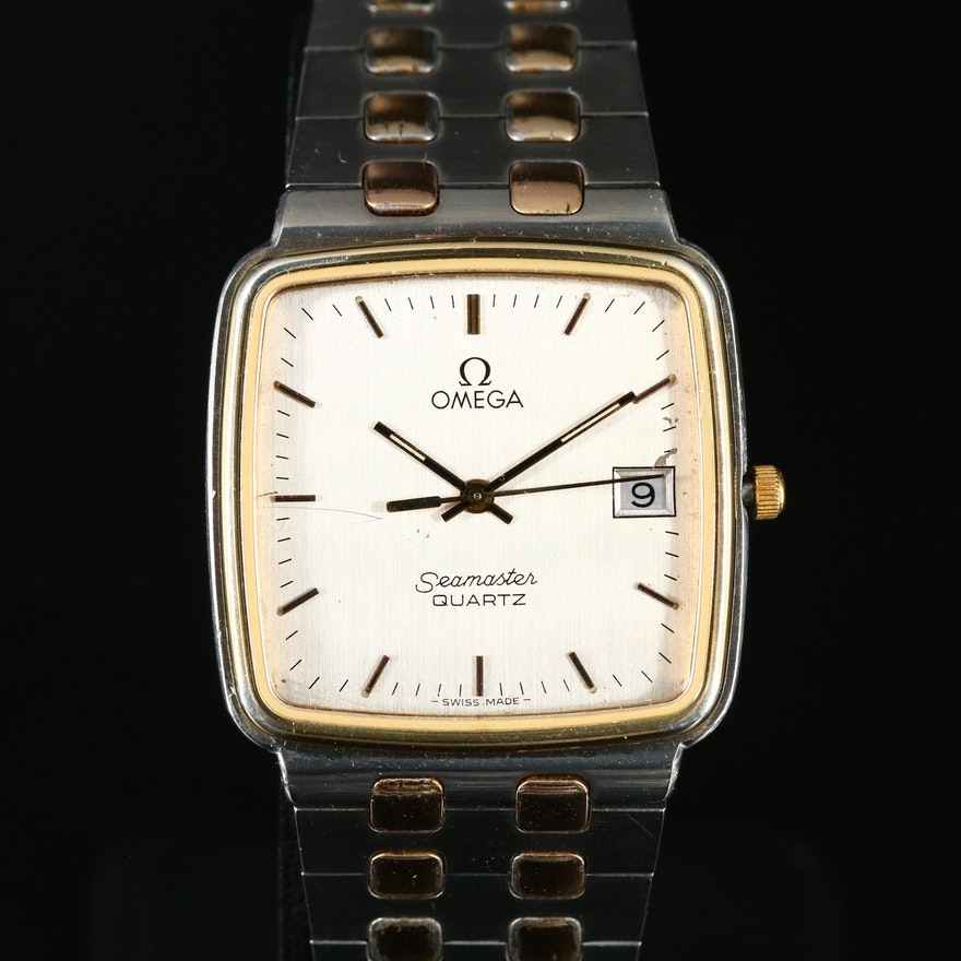 Two Tone Omega Seamaster Quartz with Date Stainless Steel Wristwatch