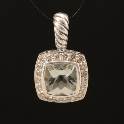 """David Yurman """"Petite Albion"""" Sterling Prasiolite and Diamond Pendant"""