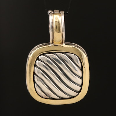"""David Yurman """"Classic Cable"""" Sterling Square Enhancer Pendant with 18K Accents"""