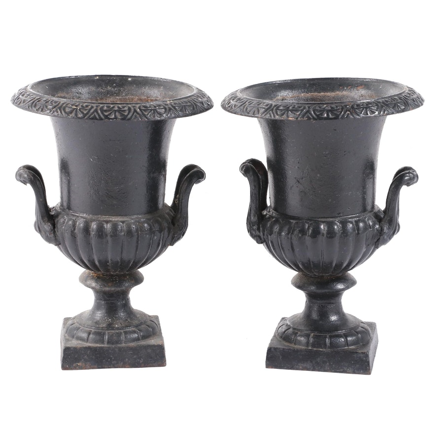 Pair of Late Victorian Black-Painted Cast-Iron Garden Urns