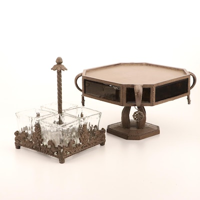 Metal and Glass Utensil Holder and Cake Stand, Contemporary