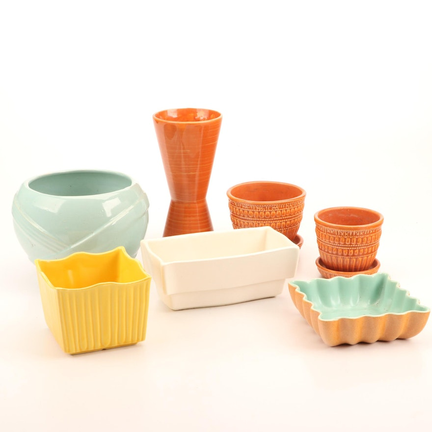 Mid Century Modern McCoy Vase and Other Ceramic Vases and Planters
