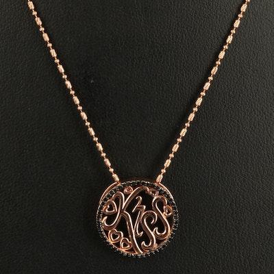"Sterling Diamond ""Kiss"" Pendant Necklace"