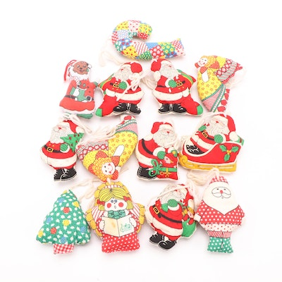 Hand Stitched Fabric Santa Claus and Christmas Ornaments