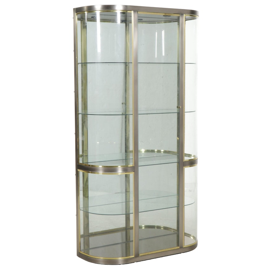 Pace Collection Stainless Steel, Brass and Curved Glass Display Cabinet