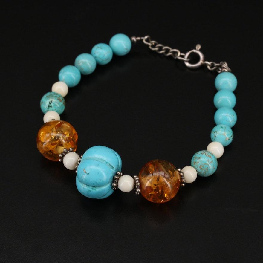 Sterling Magnesite, Coral and Gemstone Bead Bracelet