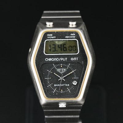 Heuer Manhattan Chronosplit GMT  Stainless Steel Wristwatch
