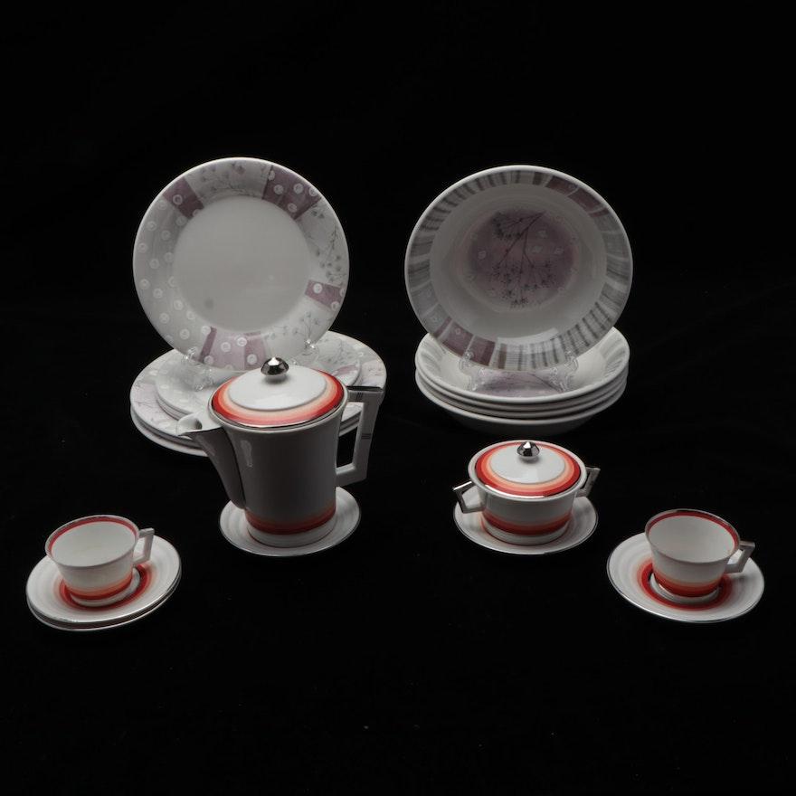 Portmeirion Porcelain Dinnerware with Czechoslovakian Tea Set