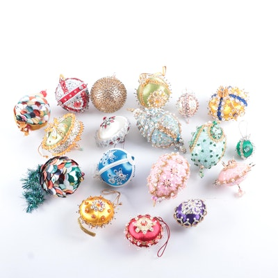 Victorian Style Bead and Sequin Christmas Tree Ornaments