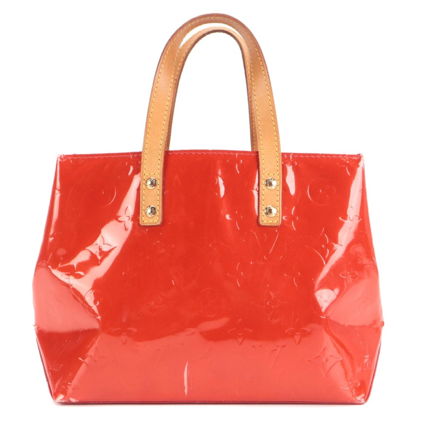 Louis Vuitton Reade PM Tote in Red Vernis and Vachetta Leather