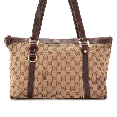 Gucci Abbey Tote Medium in GG Canvas and Brown Leather