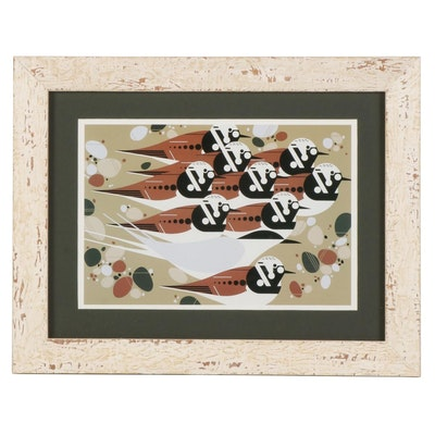 """Offset Lithograph After Charley Harper """"Tern, Stones, and Turnstones"""""""