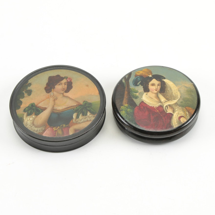 Hand-Painted Lacquered Portrait Papier-Mâché Snuff Boxes, Early/Mid 19th Century