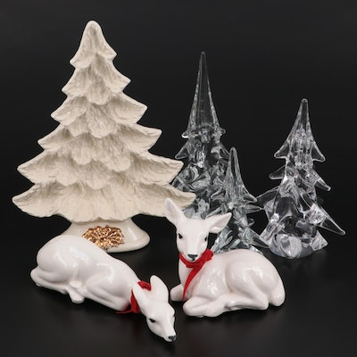 Nowell's Porcelain Christmas Tree Dish, Other Porcelain Deer, and Glass Trees