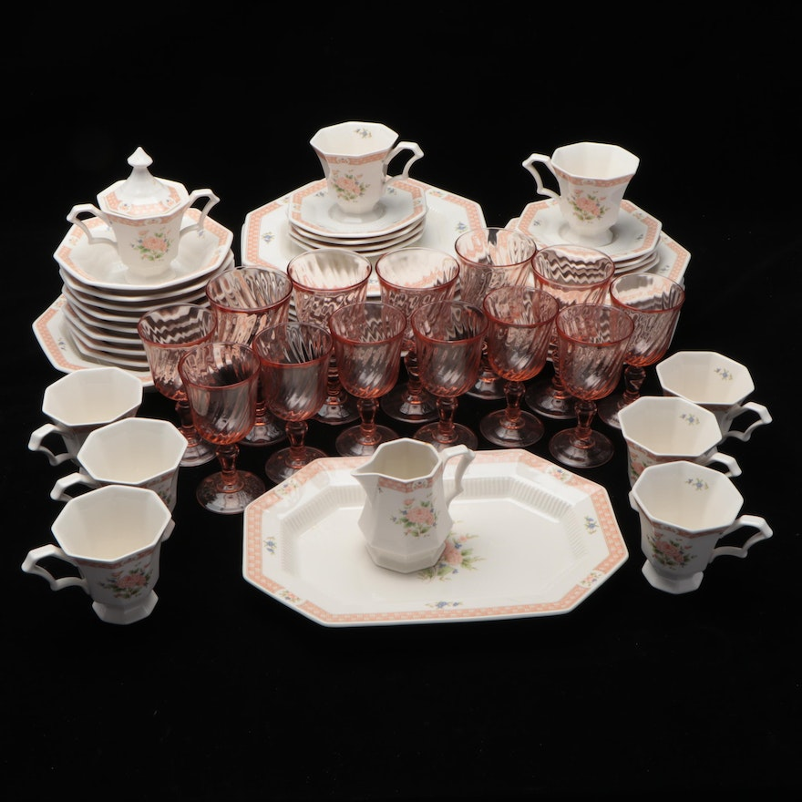 """Nikko """"Classic Collection"""" Porcelain Dinnerware and Pink Glass Stemware"""