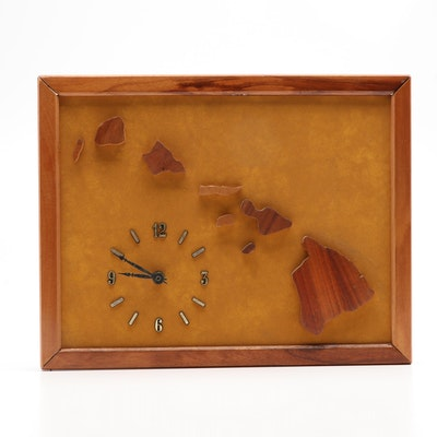 Hawaiian Islands Koa Wood Frame Wall Clock
