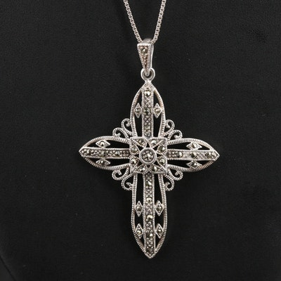 Sterling Marcasite Cross Necklace