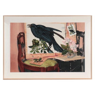 "Bernard Palchick Large-Scale Watercolor Painting ""Phoenix,"" 1988"