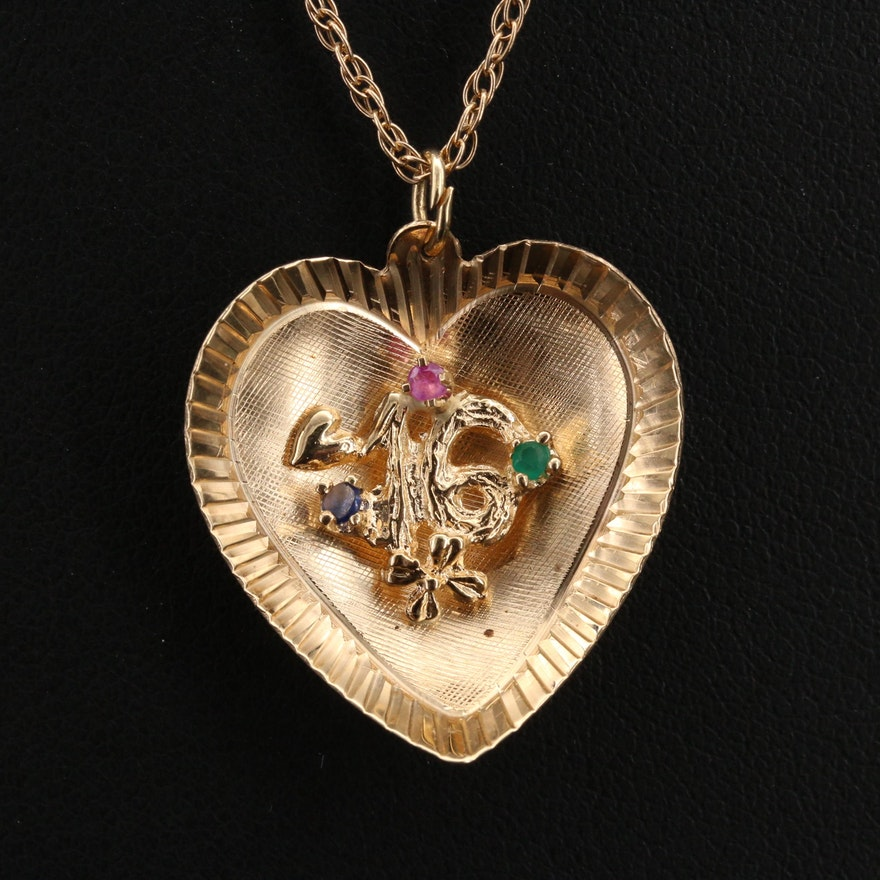 14K Ruby and Gemstone Sweet 16 Heart Pendant on 10K Chain Necklace