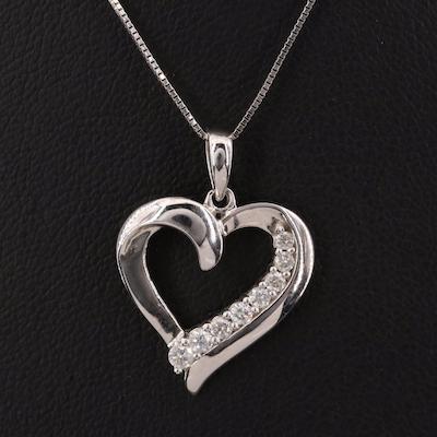 10K Diamond Heart Pendant on 14K Chain Necklace