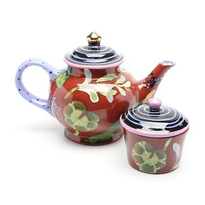 Droll Designs Hand-Painted Ceramic Teapot and Sugar, 2004