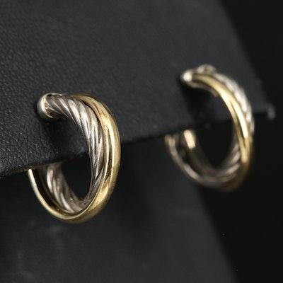 David Yurman Sterling Silver and 18K Crossover Half Hoop Earrings