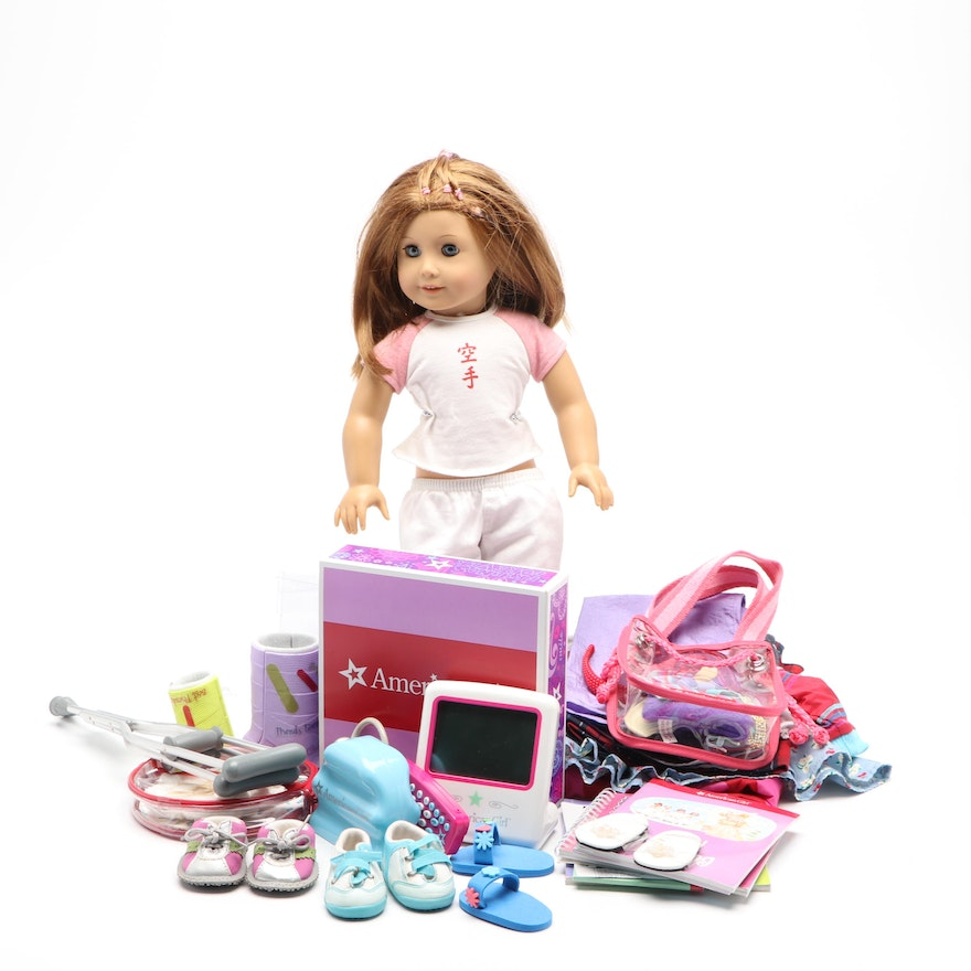 """American Girl Doll and Accessories with """"Kendal Karate Girl"""" Book"""
