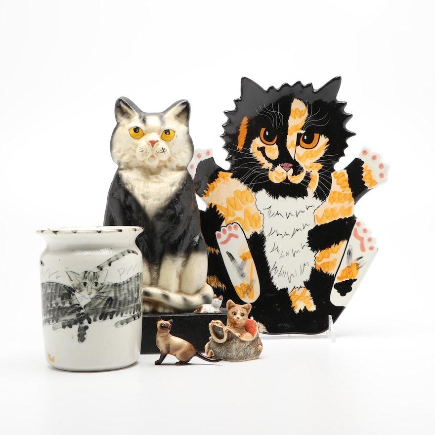 Iron Cat Doorstop, Porcelain Figurine, Cats by Nina Tray, Roth Cat Motif Vase