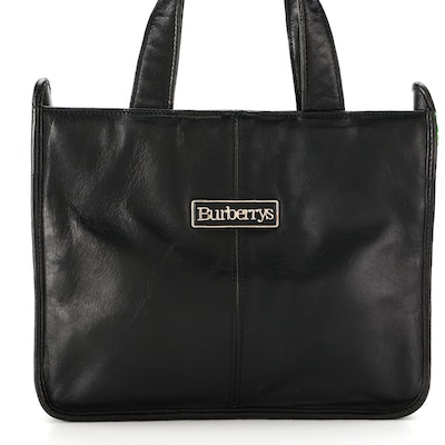 Burberrys of London Small Tote Bag in Black Leather