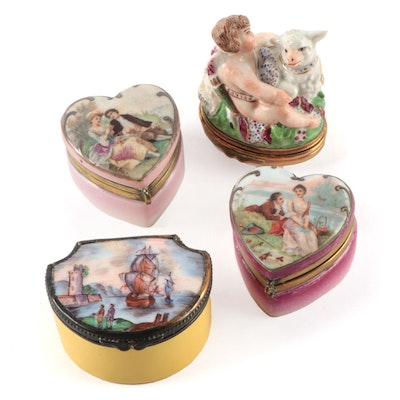 English Chelsea Style Bonbonniere and Other Porcelain and Enamel Snuff Boxes