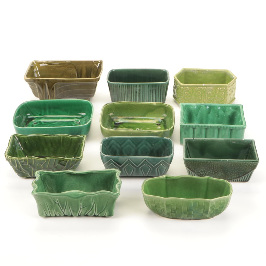 McCoy, Cookson and Other Green-Glazed Ceramic Planters, Mid-20th Century