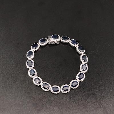 14K Sapphire and 3.83 CTW Diamond Halo Link Bracelet