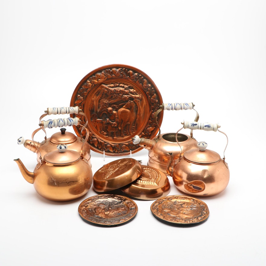 Copper Teapots, Food Molds, and Wall Plaques
