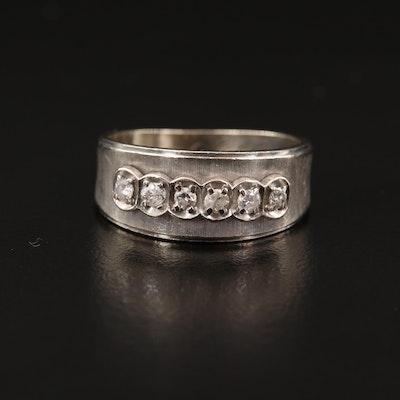 14K Diamond Ring with Florentine Finish