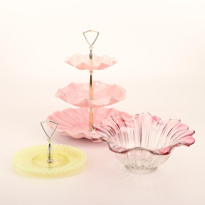 Ceramic and Glass Candy Dishes and Light Cranberry Glass Bowl