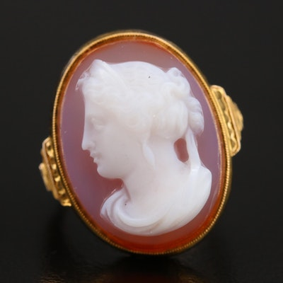 Vintage Style 14K Agate Cameo Ring