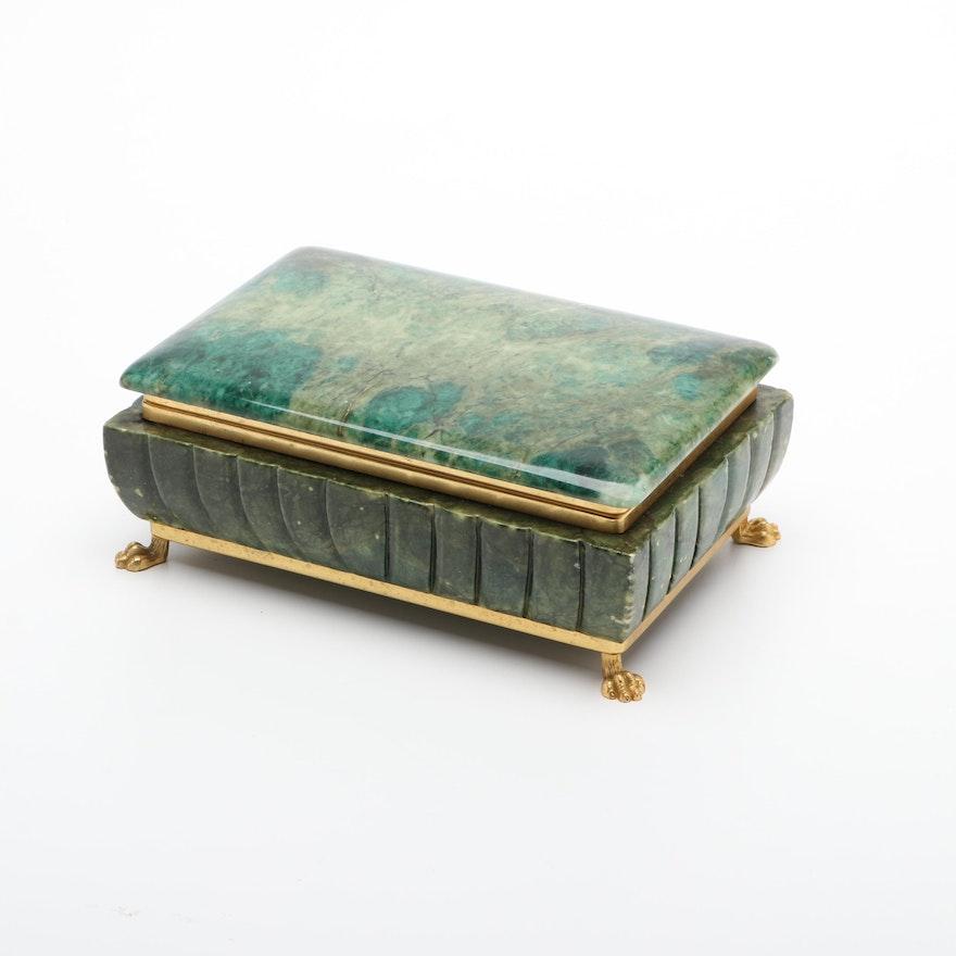 Gilt Metal Mounted Green Stone Jewelry Box