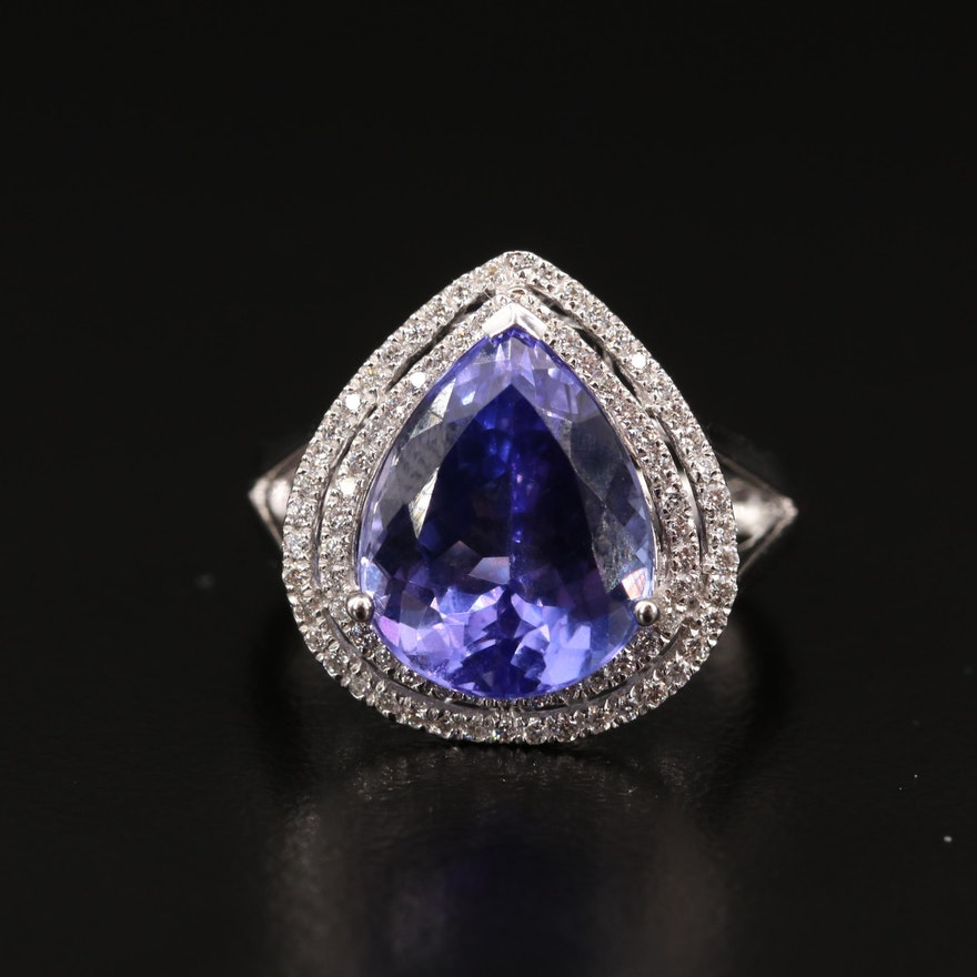 18K 6.46 CT Tanzanite and Diamond Double Halo Ring