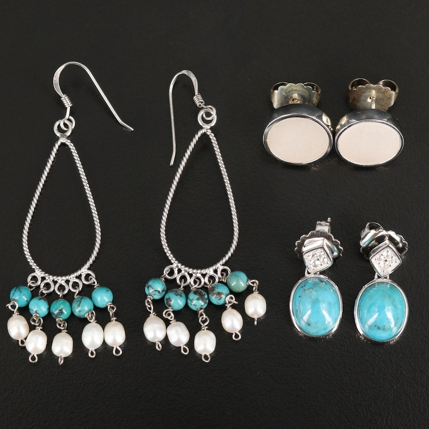 Sterling Pearl and Turquoise Earrings Selection