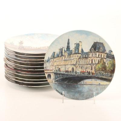 """Limoges Porcelain """"Scenes of France"""" Plate Set"""