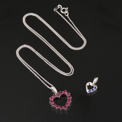 Sterling Silver Ruby, Diamond and Sapphire Heart Pendants with Chain