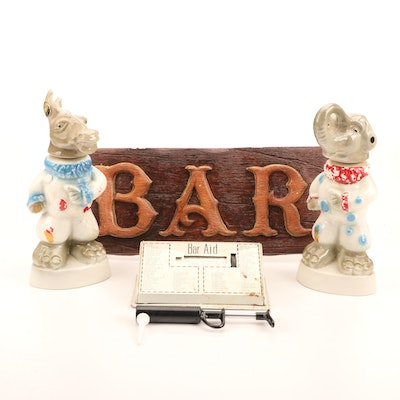 Jim Beam Donkey and Elephant Decanters, Bar Sign, Cork Jet, and Cocktail Recipes