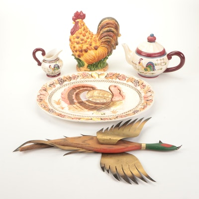 Ceramic Turkey Platter, Rooster Jar, Rooster Teapot, and Pheasant Sculpture