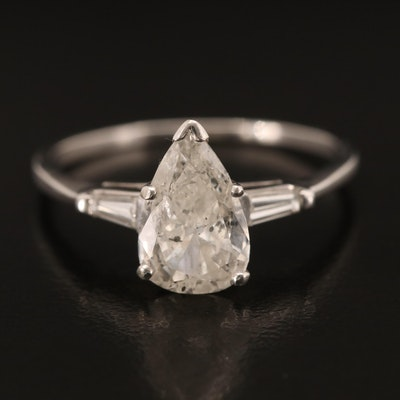 14K 1.82 CTW Diamond Ring with Pear Brilliant Cut Center