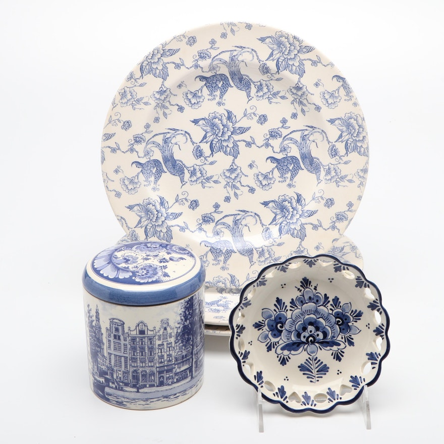 Delft Porcelain Lidded Jar and Bowl with Staffordshire Engravings Plates