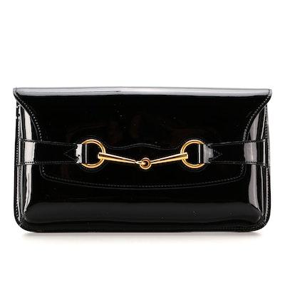 Gucci Bright Bit Black Patent Leather Clutch