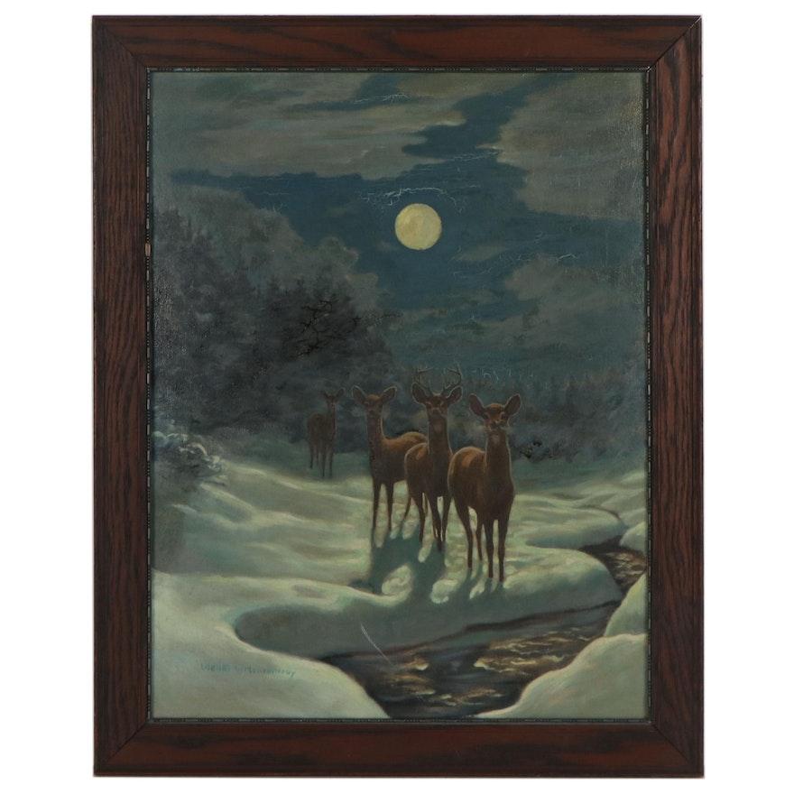 Walter Hemenway Wildlife Oil Painting of Deer in Moonlight