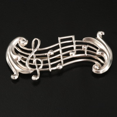 Beau Sterling Silver Music Stanza Brooch